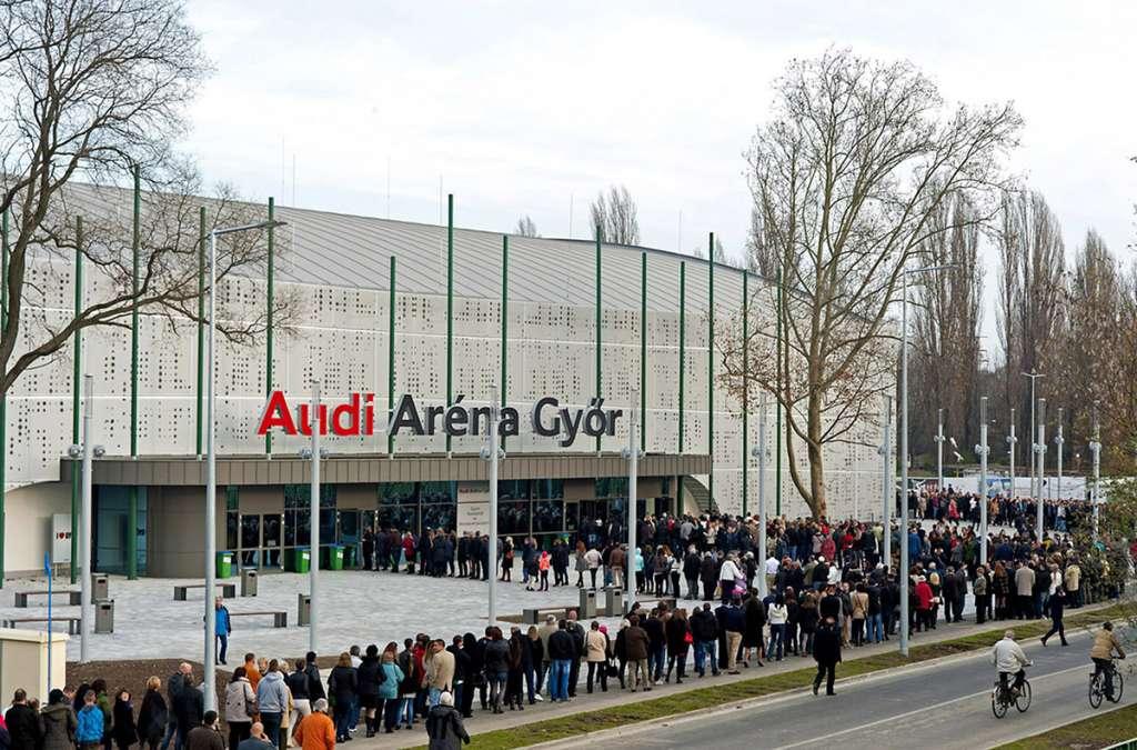 Épületháló nyomtatás Audi Aréna Győr